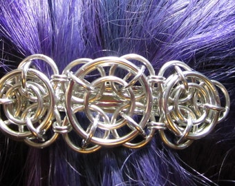 Axis of Awesome Chainmaille Barrette in silver, chainmaille barrette, chain mail barrette, chain maille barrette, chainmail barrette