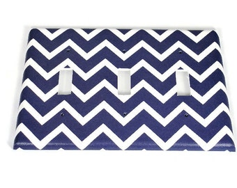 Triple Light Switch Cover  Switch Plate Switchplate in Navy Chevron   (208T)