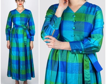 Vintage 1970s Blue & Green Thai Silk Plaid Maxi Dress by Chit Vanich | Medium