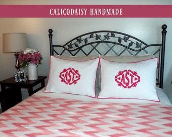 The Lisette Applique Framed Monogrammed Pillow Shams - SET OF 2 - Standard 20 x 26