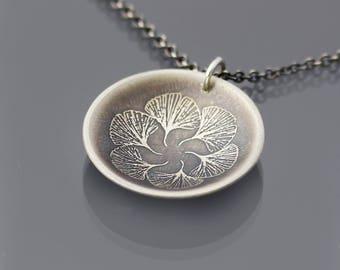 Ginkgo Leaf Necklace, ginkgo leaf mandala necklace, sterling silver ginkgo necklace, botanical jewelry, oxidized silver pendant