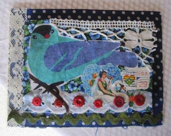 AMERICANA BIRD -  Original Fabric Collage - Recycled Materials -  myBonny Folk Art