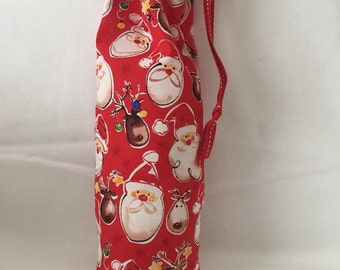 Christmas Fabric Gift Bag  Eco Friendly Bag  Drawstring Reuseable wrap --size 4 inches x 12 inches  Santa and Reindeer Fabric