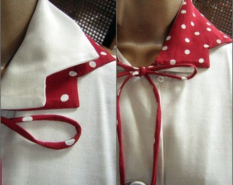 Silk Pongee Dress Vintage 50s 60s Red Polka Dot Variable Collar & Belt by Rozi Parker