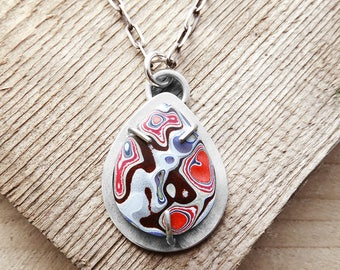 Fordite necklace, Detroit Agate necklace, fordite jewelry, girlfriend gift, wife gift, sterling silver statement necklace, Christmas gift
