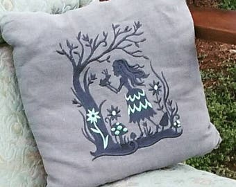 Frog Prince Fairy Tale Linen Pillow