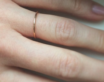Ready to Ship - Single 14K Rose Goldfill Hammered Stacking Ring