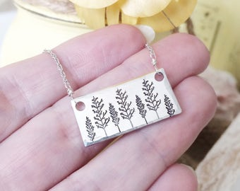 Oaks of Righteousness - tree stamped necklace in silver