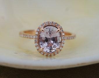 Smokey Peach Sapphire Engagement Ring 14k Rose Gold Diamond Engagement Ring 2.32ct oval. Engagement ring by Eidelprecious