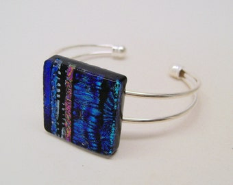 Dichroic Glass cuff bracelet.