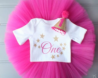 Twinkle Twinkle Little Star 1st Birthday Outfit, Cake Smash Outfit, First Birthday Outfit, 1st Birthday Tutu, Pink and Gold First Birthday