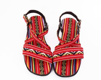 90's southwest FIESTA sandals // vintage canvas & tapestry // red ethnic festival sandals // 7.5 W wide