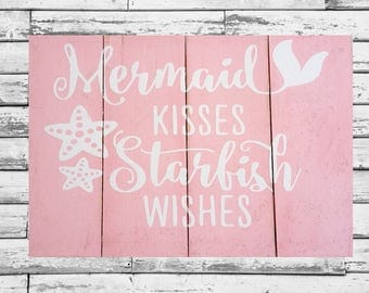 Wood wall art, baby,girl nursery wall,Mermaid Kisses Starfish Wishes.Pink 11x14 wood slat