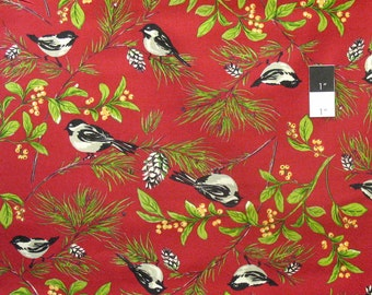 April Cornell PWAC017 Joy Chickadee Red Cotton Fabric By Yard