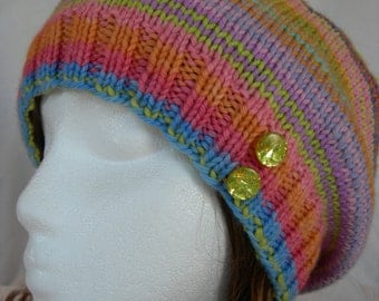 Cashmere Soft Slouch beanie stripes hand knit hand dyed luxury yarn colorful button hat