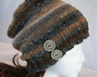 Noro Kureyon Striped slouch button beanie hand knit brown gray wool hat winter hat