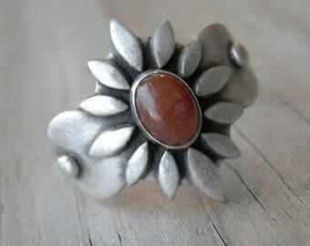 Achelois Sterling Silver Warrior Goddess Ring Orange Sapphire Size 10 1/2