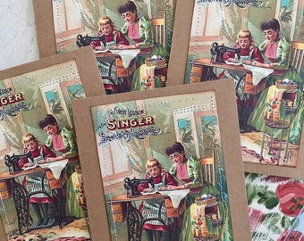 Sewing Machine Note Card Set Quilting Sewing Vintage Seamstress Sew 4 Large Greeting Cards
