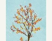 50% Off - Black Friday Tree Blossoms Art - Dancer in the Dark (blue) - 8x10 Print - Orange Blue Modern