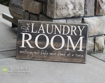 The Laundry Room Sorting Out Life One Load At A Time Quote Saying Wood Sign - Distressed Wooden Sign - Laundry Room Decor - Home Decor -S243