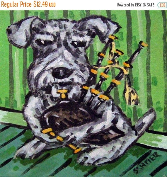 20% off SALE Schnauzer Playing the Bagpipes Dog Art Tile Coaster Gift