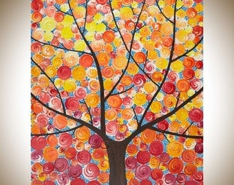 """Original abstract painting colorful painting red yellow orange wall art Whimsical art canvas art """"sunshine through the mocha tree"""" by qiqi"""