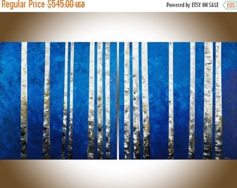 """Birch painting 60"""" extra large wall art wall decor painting on canvas blue white black home office wall hanging by qiqigallery"""