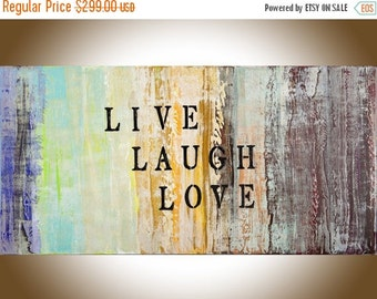 Large canvas art Quotes on canvas live laugh love abstract painting Original artwork home decor wall art wall hanging