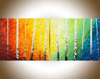 "Rainbow colour art 60"" Original oil painting Wall art wall decor painting on canvas ""Color of love"" by qiqigallery"