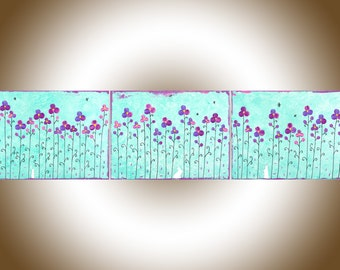 Nursery art aqua green painting on canvas Set of 3 painting purple pink flowers rabitts original artwork home wall decor by qiqigallery