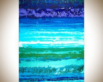 Abstract painting original artwork  painting on canvas wall art wall Decor home decor wall hanging blue green purple by qiqigallery