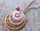 Custom Grammy Mommy Necklace Personalized Names Birthstones- Custom Nana Nonna Mom Necklace - Mothers Day Gift -Kids Names -S120