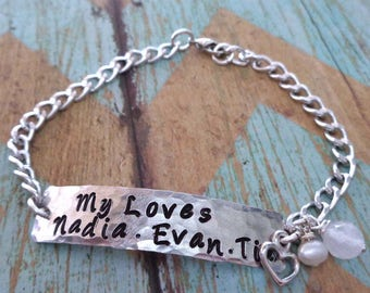 My Loves Stamped Bracelet -Personalized Names Family Love - Silver Personalized Family Bar Bracelet- Love my Family Names Dates Word- B68