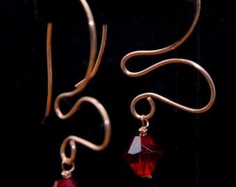 Abstract Copper Heart Earrings