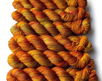 Worsted Handdyed Merino Cashmere Nylon Yarn - Golden Harvest, 200 yards