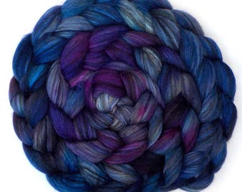 Roving Handdyed Merino Silk Swirled Colors Combed Top Blueberry Heather 5.3 oz.