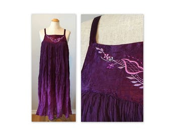 Vintage 70s Trapeze Gauze Dress XS Gradient Purple and Embroidery NOS As Is