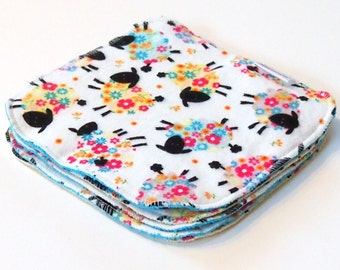 8 by 8 inch Serged Cloth Wipes/Washcloths - Sheep - Flannel/Baby Terry- set of 5 with a variety of Terrycloth