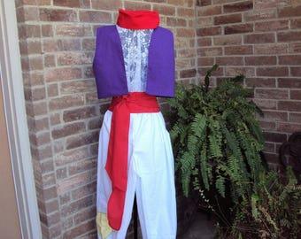 Aladdin Costume, purple vest, white pants, red hat and red sash,