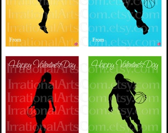 Valentines Day Cards Basketball set 1 Boys and Girls - for kids classroom exchange DIY Printing Valentine JPG & Pdf{Instant Download}