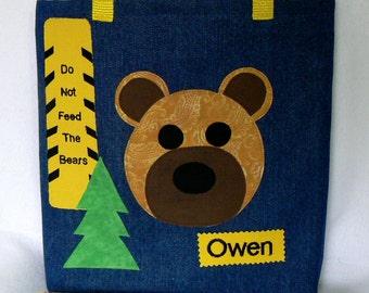 Kid Tote Bag|Personalized Book Bag|Forest Animal Kid Bag|Easter Gift|Library Book Bag|Toddler Tote Bag|Preschool Bag|Grizzly Bear|School Bag