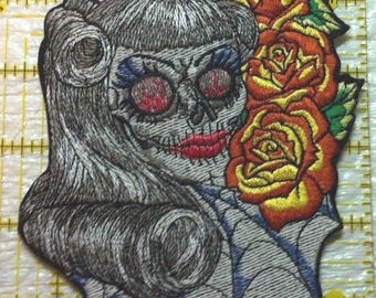 "Rock-a-Billy Girl Zombie Iron on Patch or Applique  6""x  3.25""- FREE U.S. Shipping"