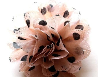 Clearance Sale Blush pink and black polka dot fabric flower