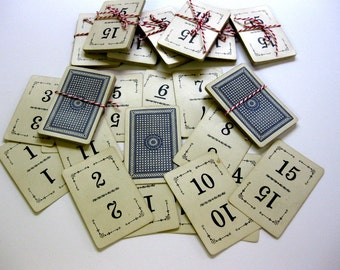 Vintage Number Cards, 1913 Flinch Game Cards, One through Fifteen, Antique Game Pieces, Wedding Table Markers, Ephemera
