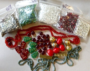 Mix of Assorted Vintage and New Beads to Play With -Red, Green Tones OOAK  (T)