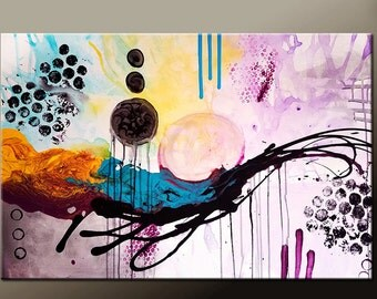 Abstract Canvas Art Painting Canvas 36x24 Original Contemporary Wall Art Paintings by Destiny Womack - dWo - Beautiful Chaos