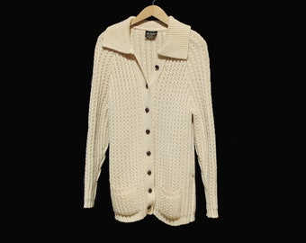 Vintage IRISH KNITS Cream Wool Knit Cardigan Sweater