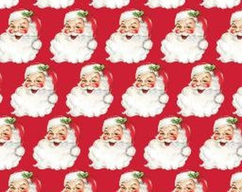 SAINT NICK Christmas Kitsch Red 100% Cotton Quilt Fabric - by the Yard, Half Yard, or Fat Quarter Fq by Anna Griffin