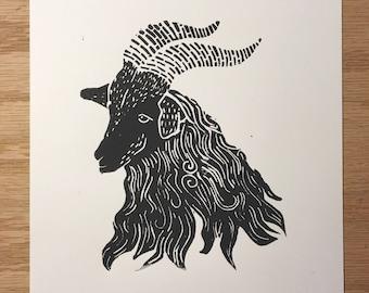 Original Grey Goat Linocut Block Print - Limited Edition - Handmade