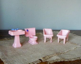 Vintage pink plastic dollhouse furniture bathroom toilet pedestal sink baby bathtubs two Irene Alice